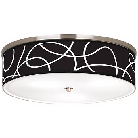 """Abstract Nickel 20 1/4"""" Wide Ceiling Light"""