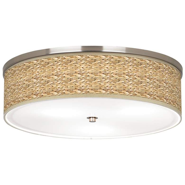 "Seagrass Print Pattern 20 1/4"" Wide Nickel Ceiling Light"