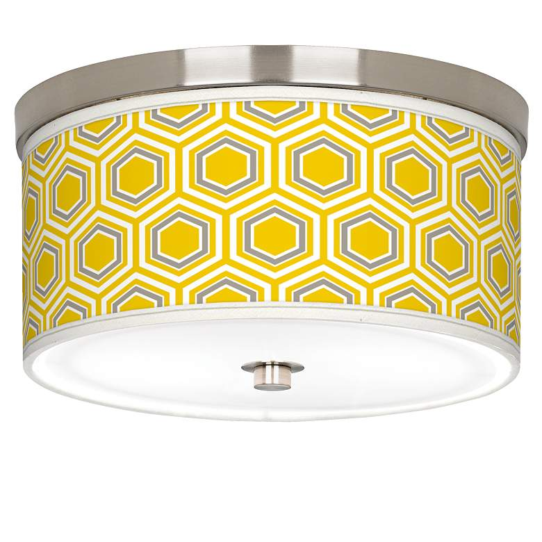 "Honeycomb Giclee Nickel 10 1/4"" Wide Ceiling Light"