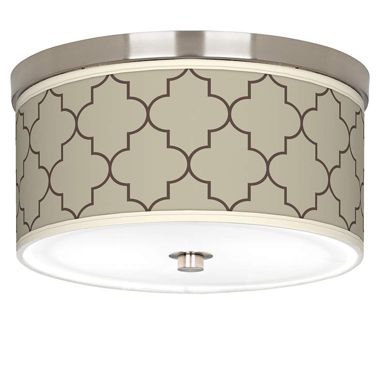 """Tangier Taupe Giclee Nickel 10 1/4"""" Wide Ceiling Light"""