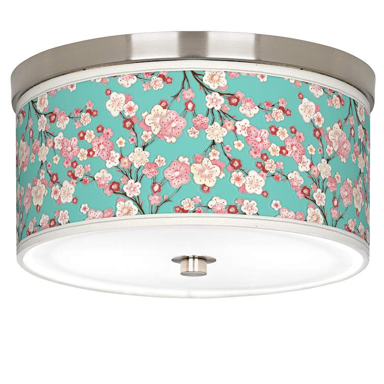 """Cherry Blossoms Giclee Nickel 10 1/4"""" Wide Ceiling Light"""