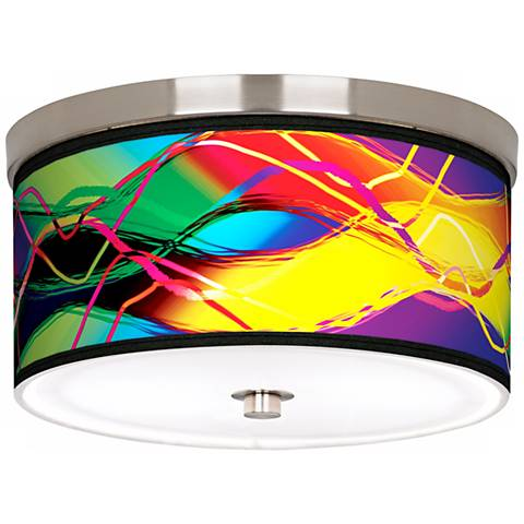 """Colors in Motion Nickel 10 1/4"""" Wide Ceiling Light"""