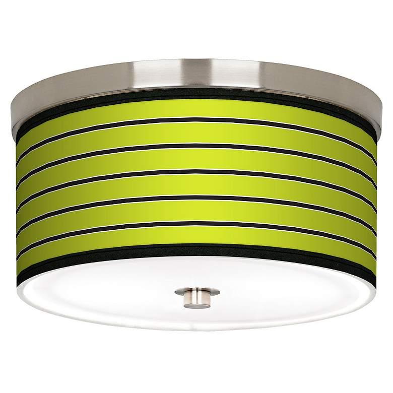 "Bold Lime Green Stripe Nickel 10 1/4"" Wide Ceiling Light"
