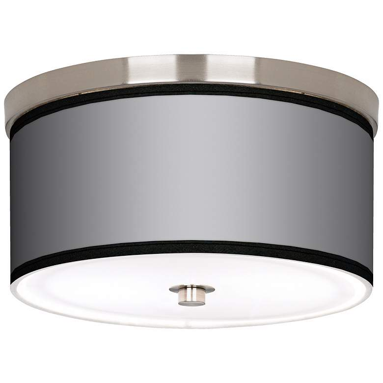 """All Silver Nickel 10 1/4"""" Wide Ceiling Light"""