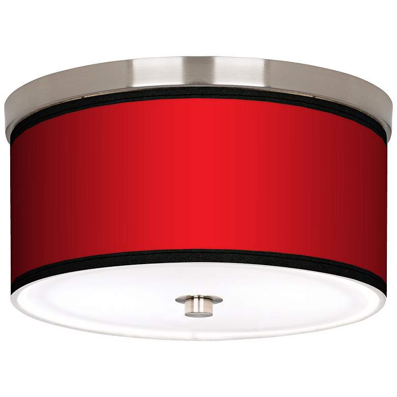 """All Red Nickel 10 1/4"""" Wide Ceiling Light"""