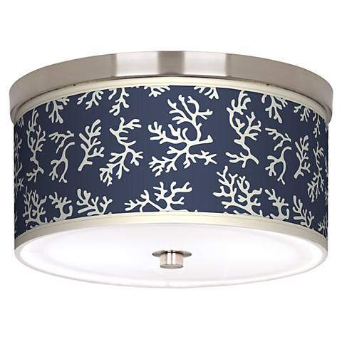 """Prussian Coral Nickel 10 1/4"""" Wide Ceiling Light"""