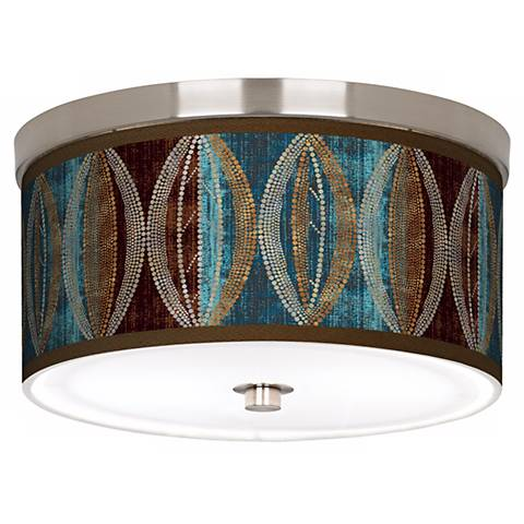 "Stacy Garcia Pearl Leaf Peacock 10 1/4"" Wide Ceiling Light"