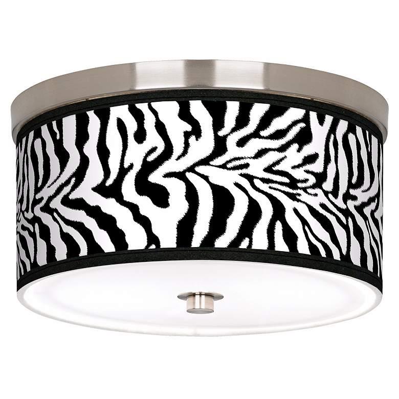 "Safari Zebra Giclee Nickel 10 1/4"" Wide Ceiling Light"