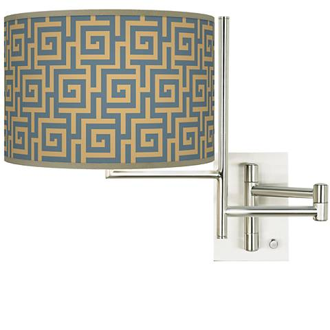 Tempo Greek Key Storm Plug-in Swing Arm Wall Light