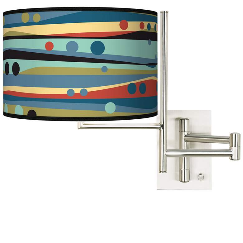 Tempo Retro Dots and Waves Plug-in Swing Arm Wall Light