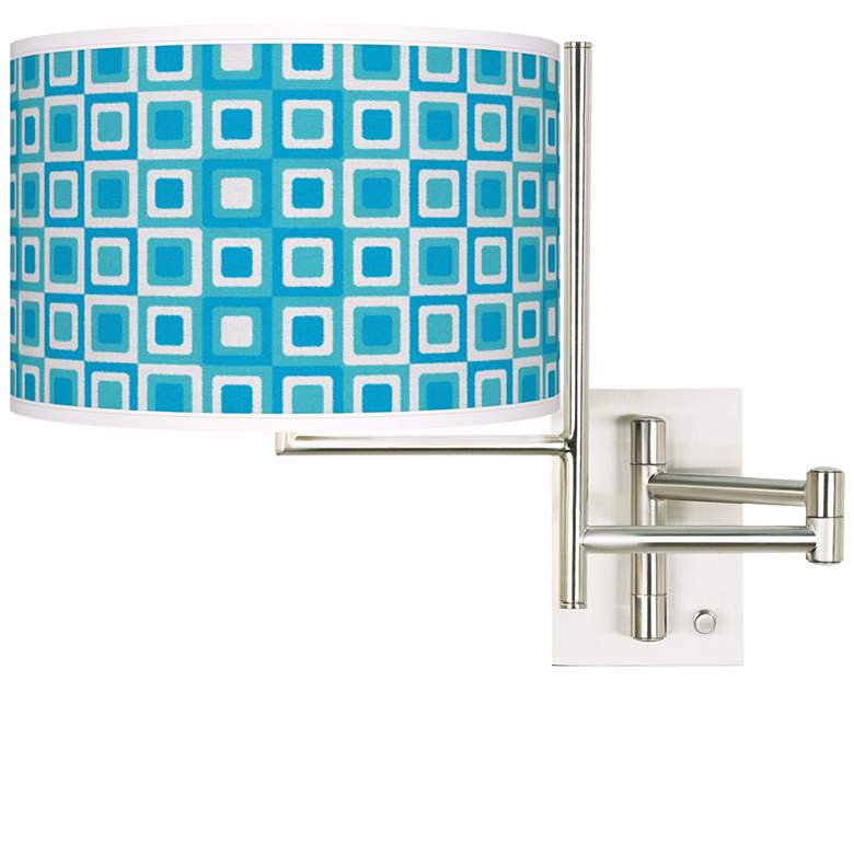 Blue Boxes Brushed Nickel Plug-In Swing Arm Wall Light