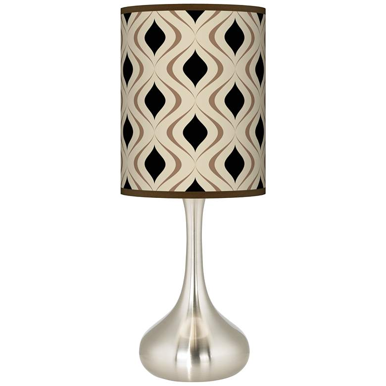 Oyster Gray Retro Lattice Giclee Droplet Table Lamp