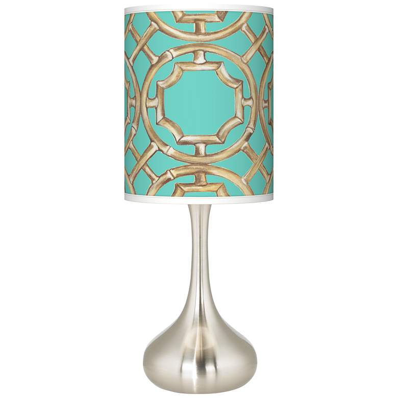 Teal Bamboo Trellis Giclee Droplet Table Lamp