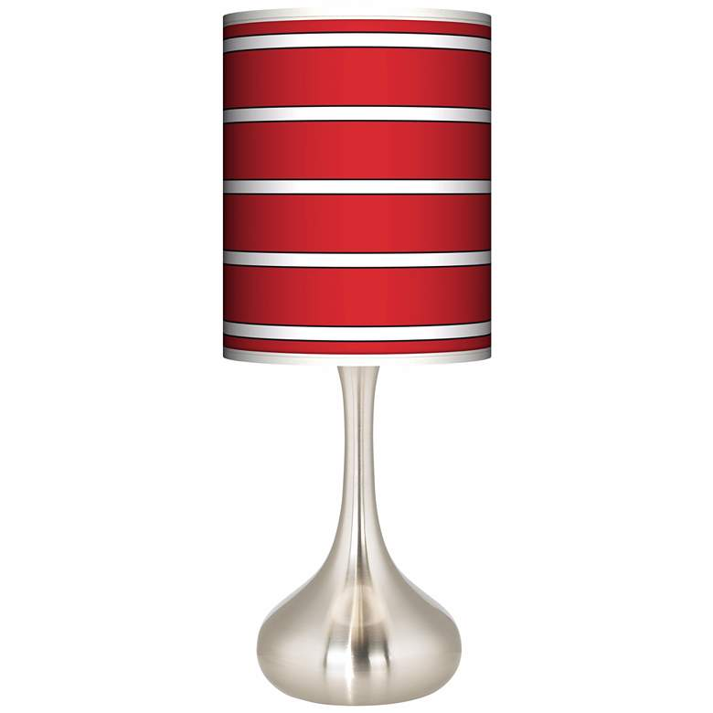 Bold Red Stripe Giclee Droplet Table Lamp