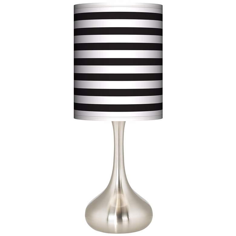 Black Horizontal Stripe Giclee Droplet Table Lamp