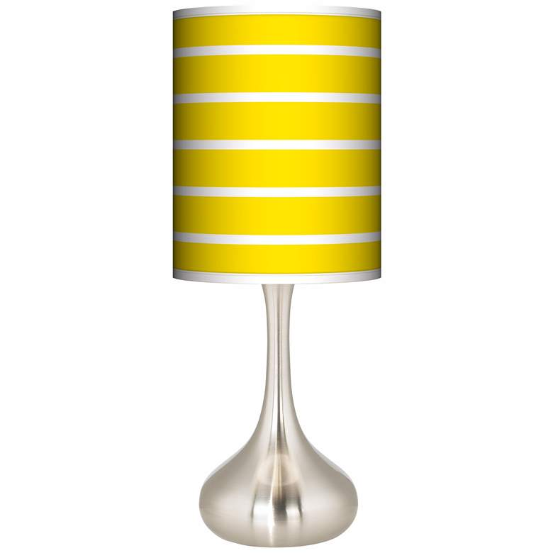 Vivid Yellow Stripes Giclee Droplet Table Lamp