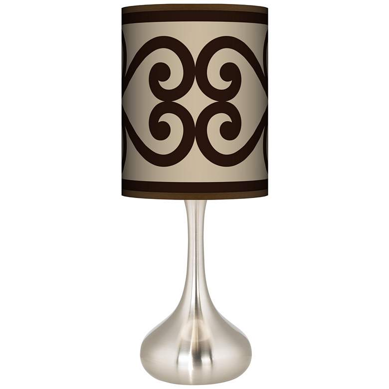 Cambria Scroll Giclee Droplet Table Lamp
