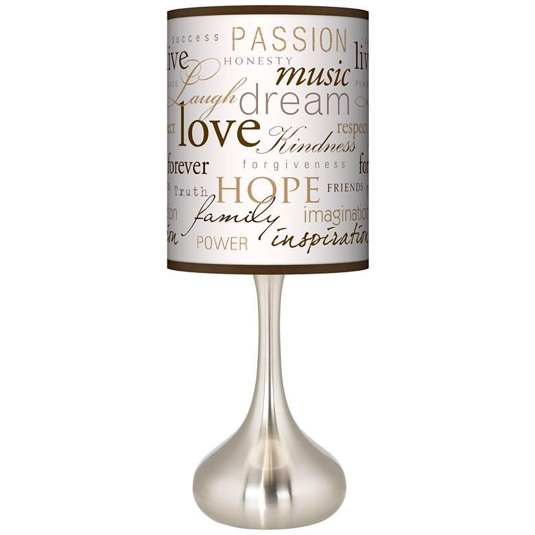 Positivity Giclee Droplet Table Lamp