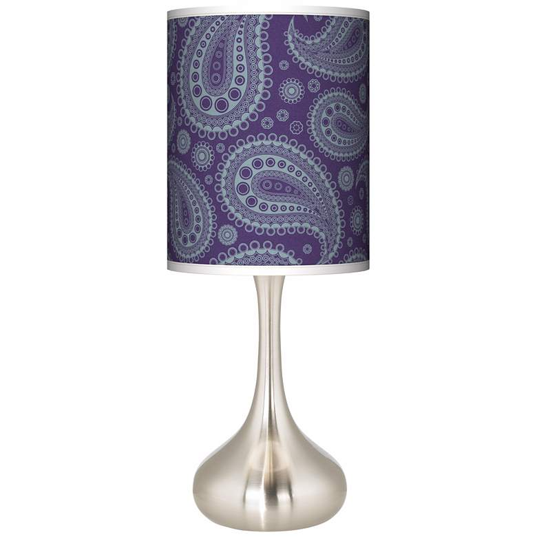 Purple Paisley Linen Giclee Shade Droplet Table Lamp