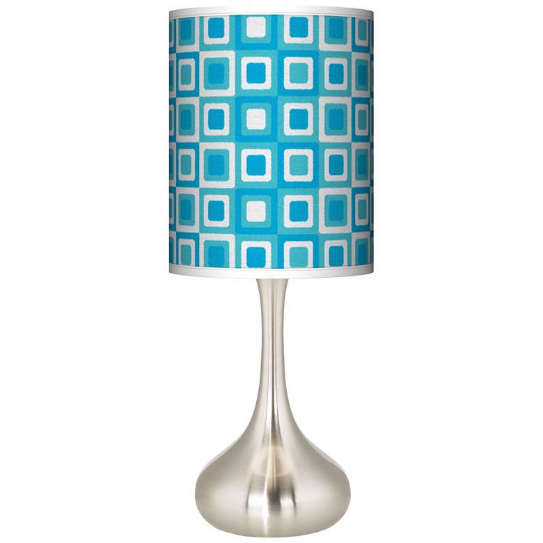 Blue Boxes Linen Giclee Droplet Table Lamp