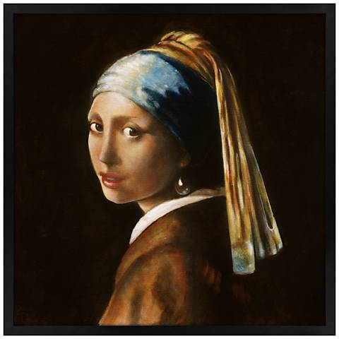 """Girl with Pearl Earring 26"""" Square Black Giclee Wall Art"""