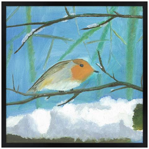 """Snow Sparrow 26"""" Square Black Giclee Wall Art"""