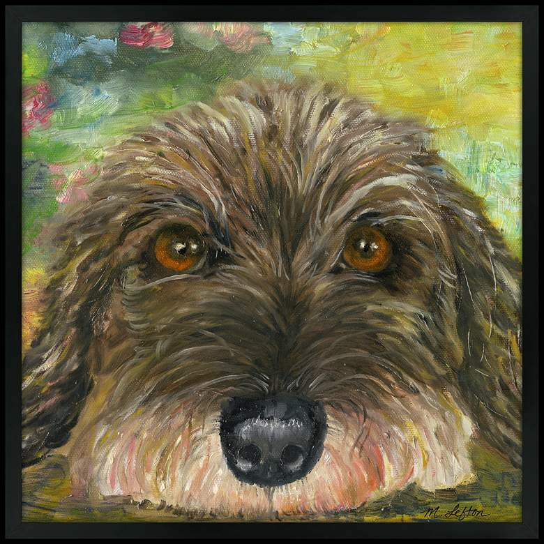 """Puppy Eyes 31"""" Square Black Giclee Wall Art"""