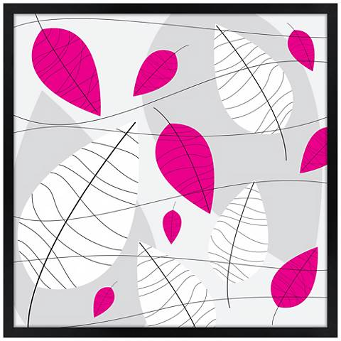 """31"""" Square Black, Pink and White Leaves Giclee Wall Art"""