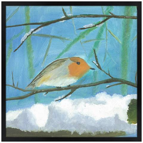 "Snow Sparrow 31"" Square Black Giclee Wall Art"