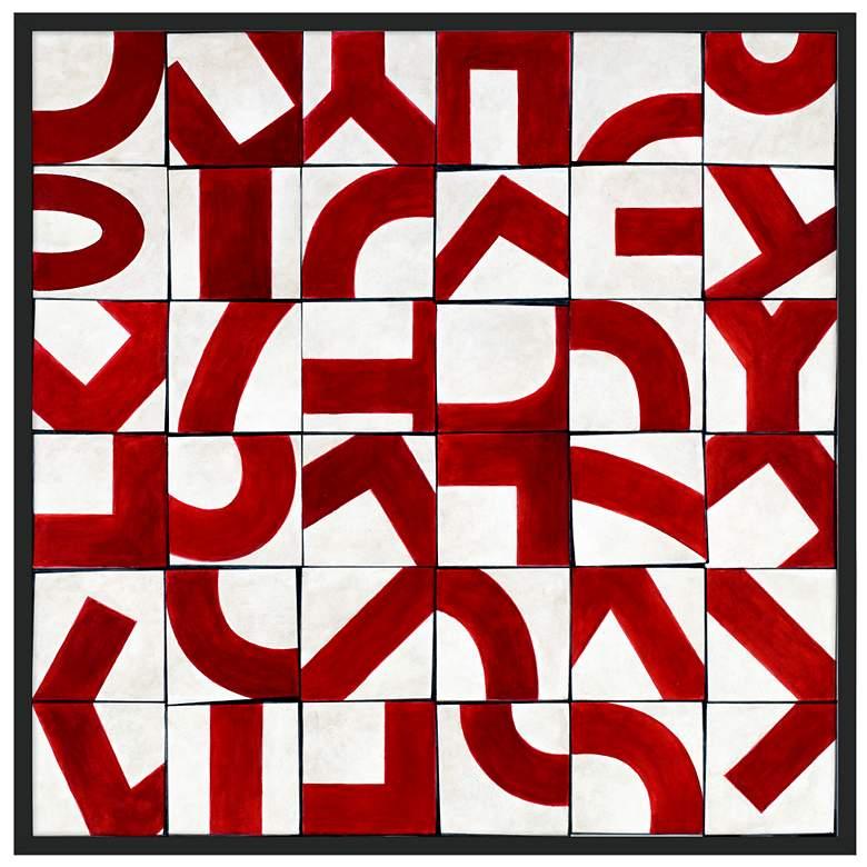 "Scramble 37"" Square Black Frame Giclee Wall Art"
