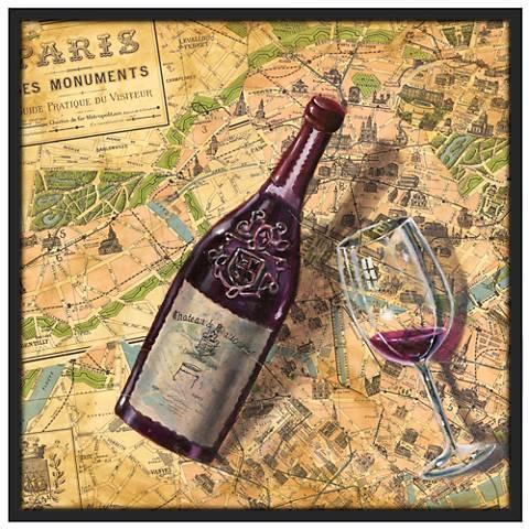 "Taste of Paris 37 1/2"" Square Black Giclee Wall Art"