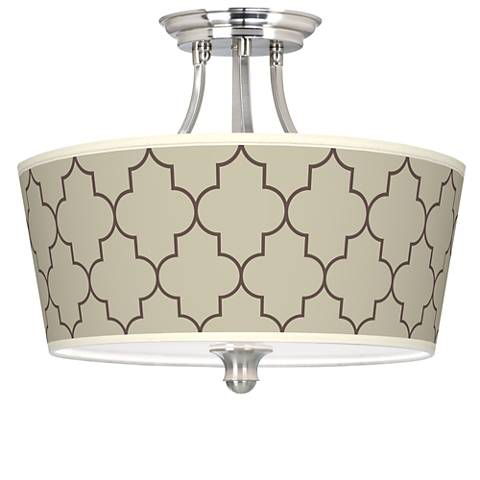 Tangier Taupe Tapered Drum Giclee Ceiling Light