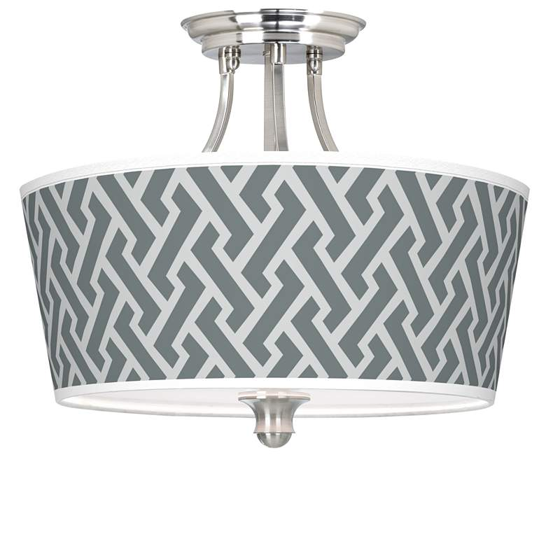 Smoke Brick Weave Tapered Drum Giclee Ceiling Light