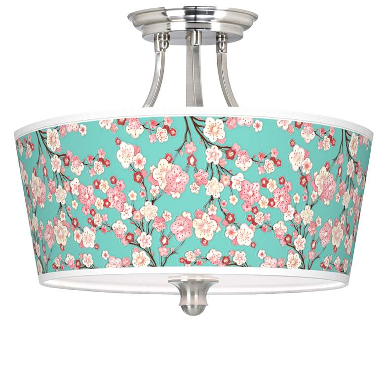 Cherry Blossoms Tapered Drum Giclee Ceiling Light