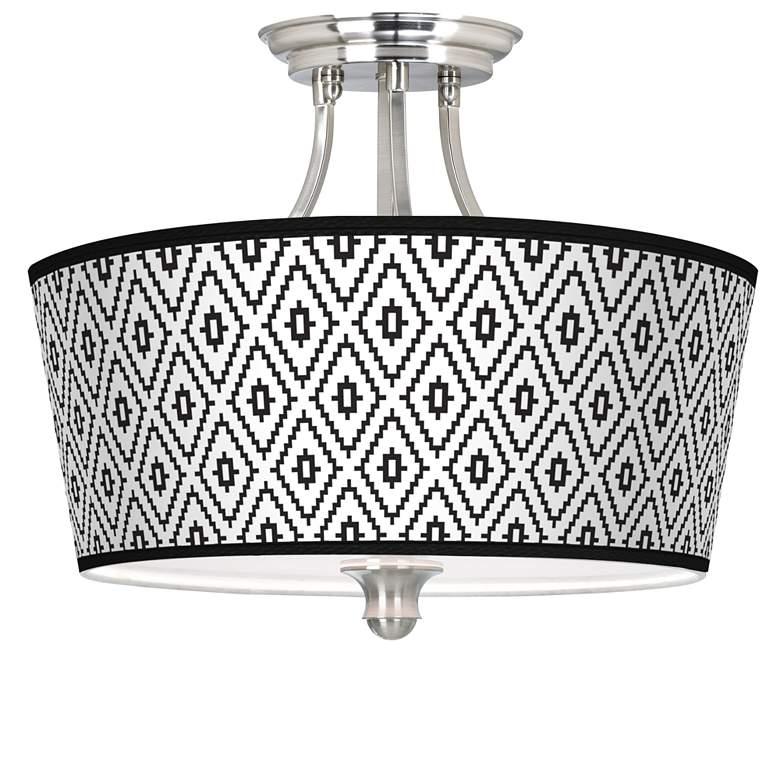 Black Diamonds Tapered Drum Giclee Ceiling Light