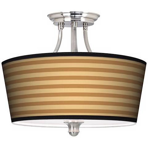 Butterscotch Parallels Tapered Drum Giclee Ceiling Light
