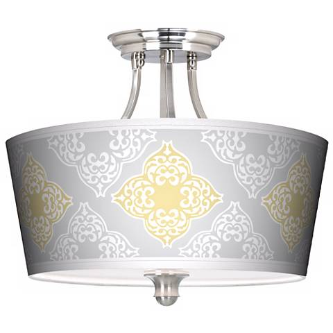 Aster Grey Tapered Drum Giclee Ceiling Light