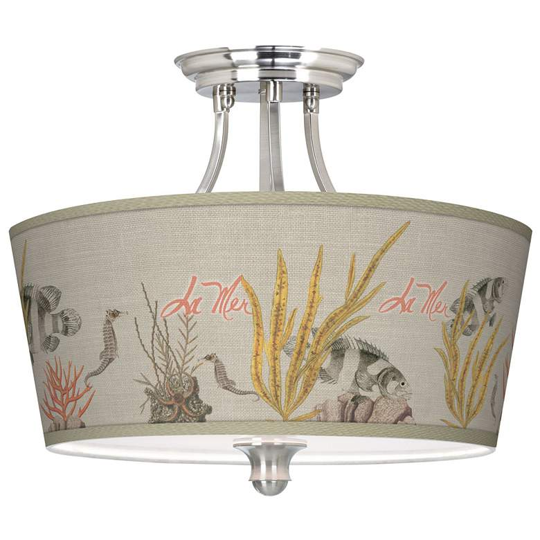 La Mer Coral Tapered Drum Giclee Ceiling Light