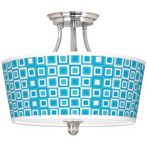 """Blue Boxes Linen Giclee Tapered Drum 18"""" Wide Ceiling Light"""