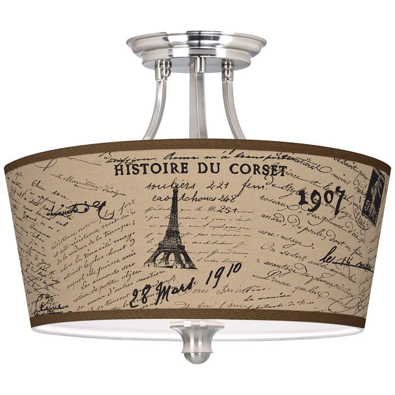 """Letters to Paris Linen Tapered Drum 18"""" Wide Ceiling Light"""