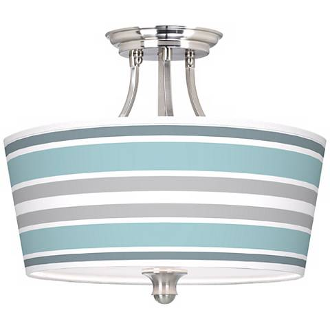 Multi Color Stripes Tapered Drum Giclee Ceiling Light