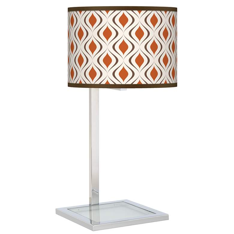 Retro Lattice Glass Inset Table Lamp