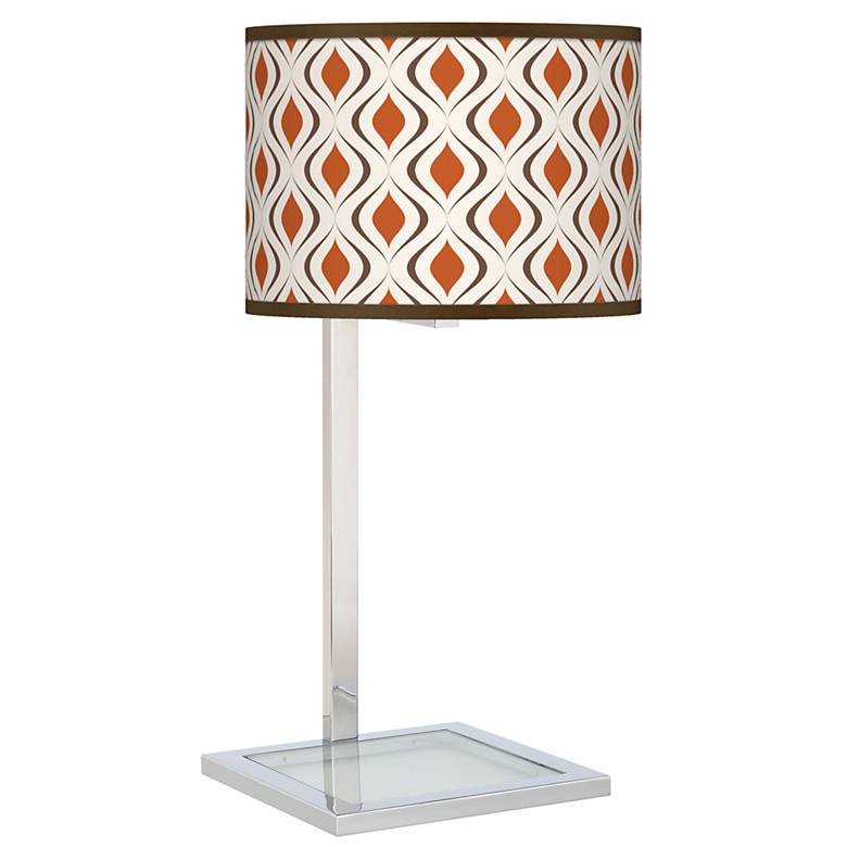Retro Lattice Glass Inset Table Lamp