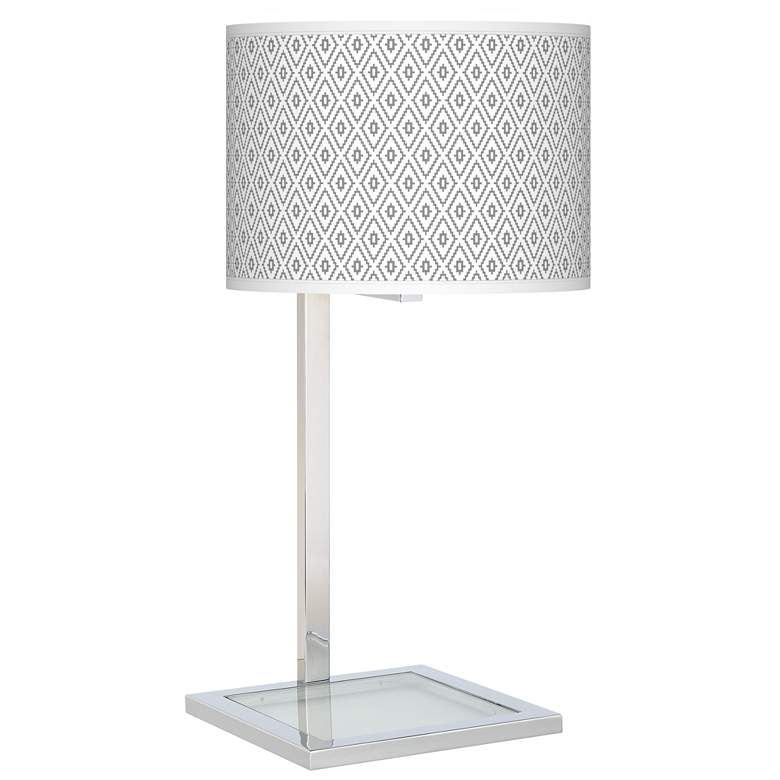 Diamonds Glass Inset Table Lamp