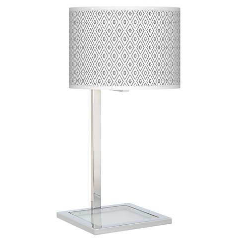 Diamonds Glass Inset Table Lamp
