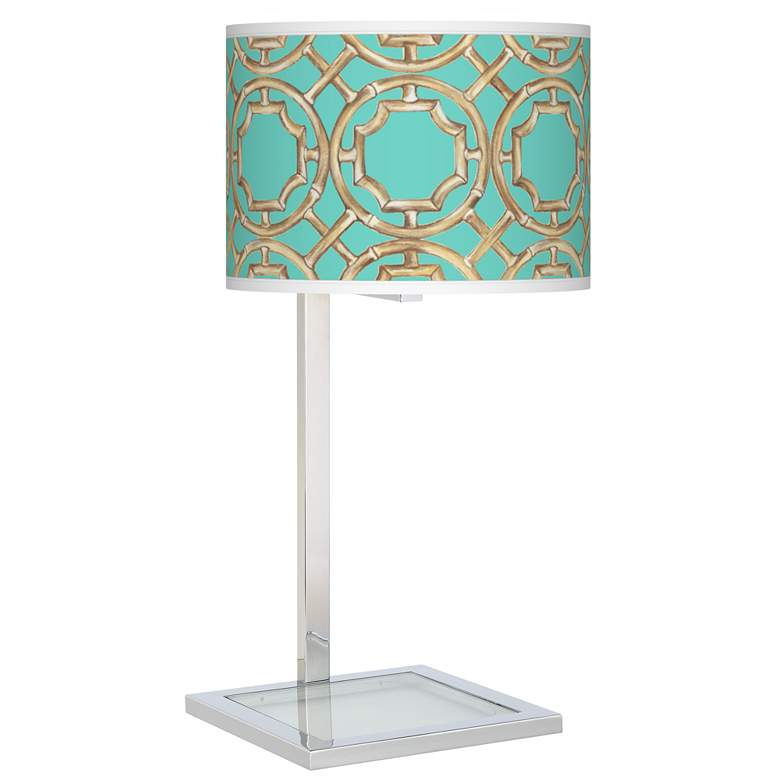 Teal Bamboo Trellis Glass Inset Table Lamp