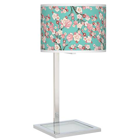 Cherry Blossoms Glass Inset Table Lamp