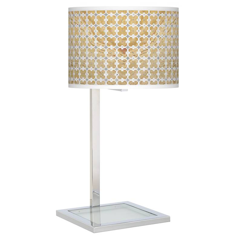 Marble Quatrefoil Glass Inset Table Lamp