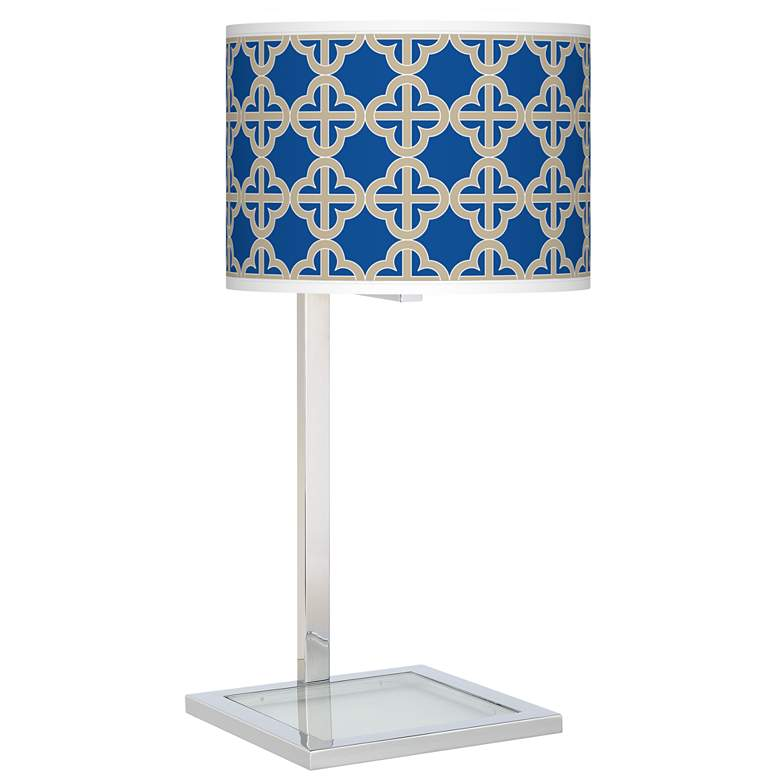 Four Corners Glass Inset Table Lamp