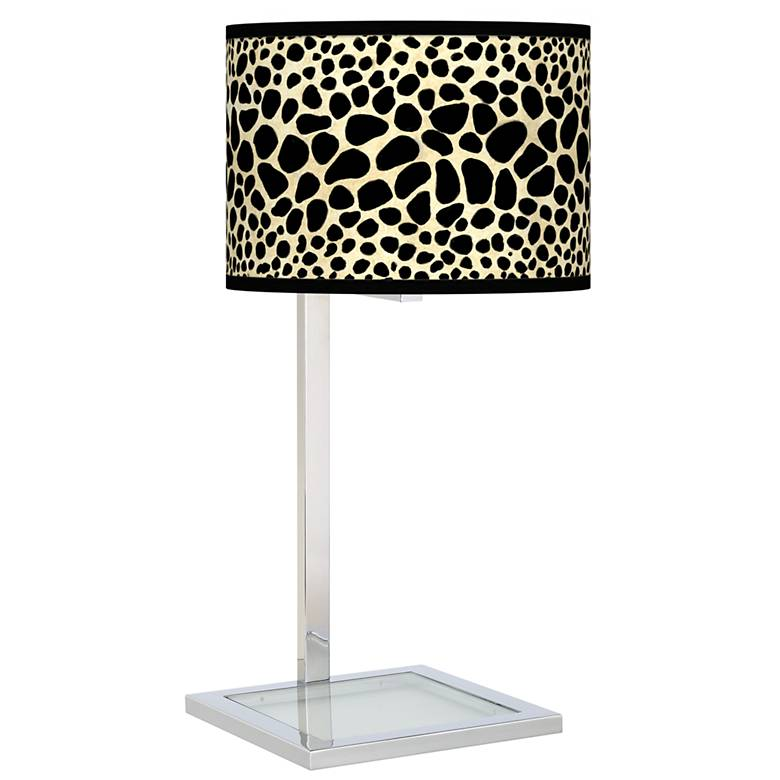 Leopard Glass Inset Table Lamp
